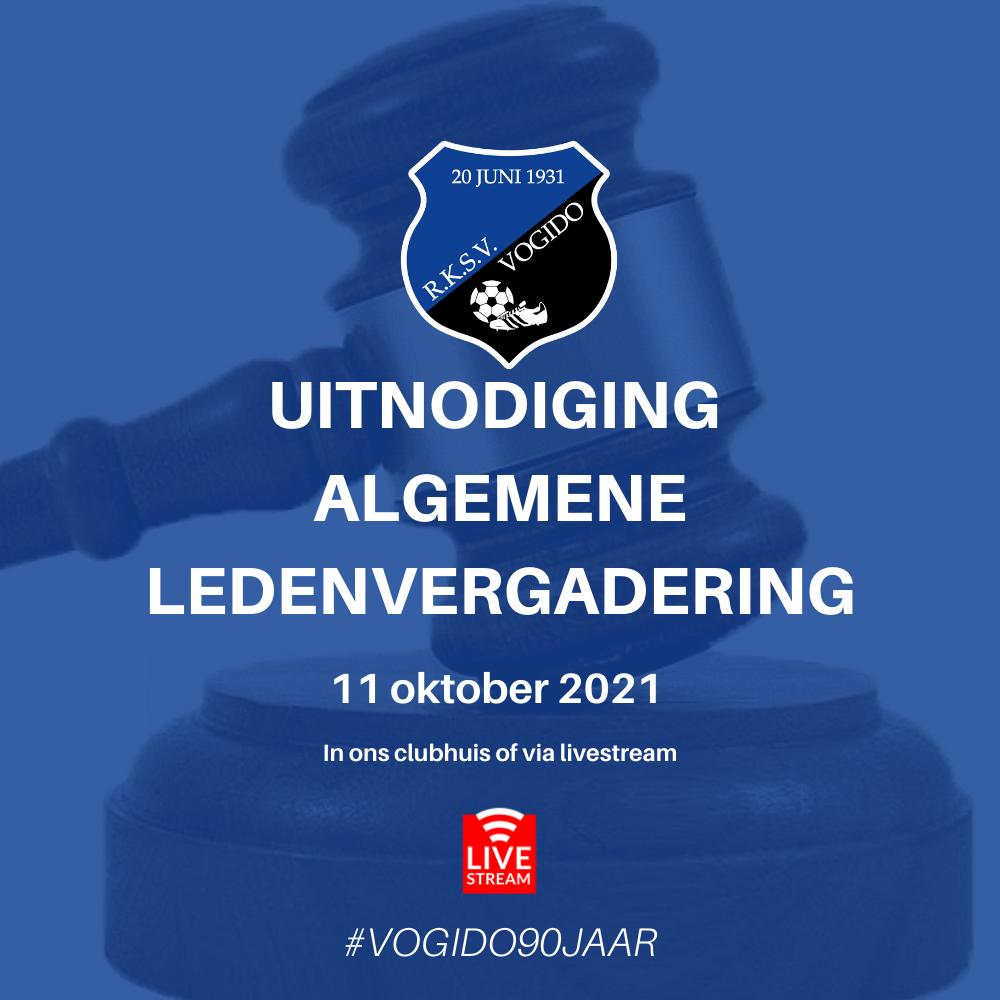 Uitnodiging ALV RKSV Vogido 11 oktober 2021 (20.00 uur)