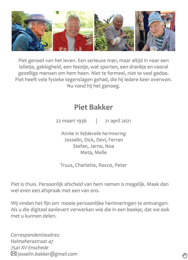 In memoriam Piet Bakker