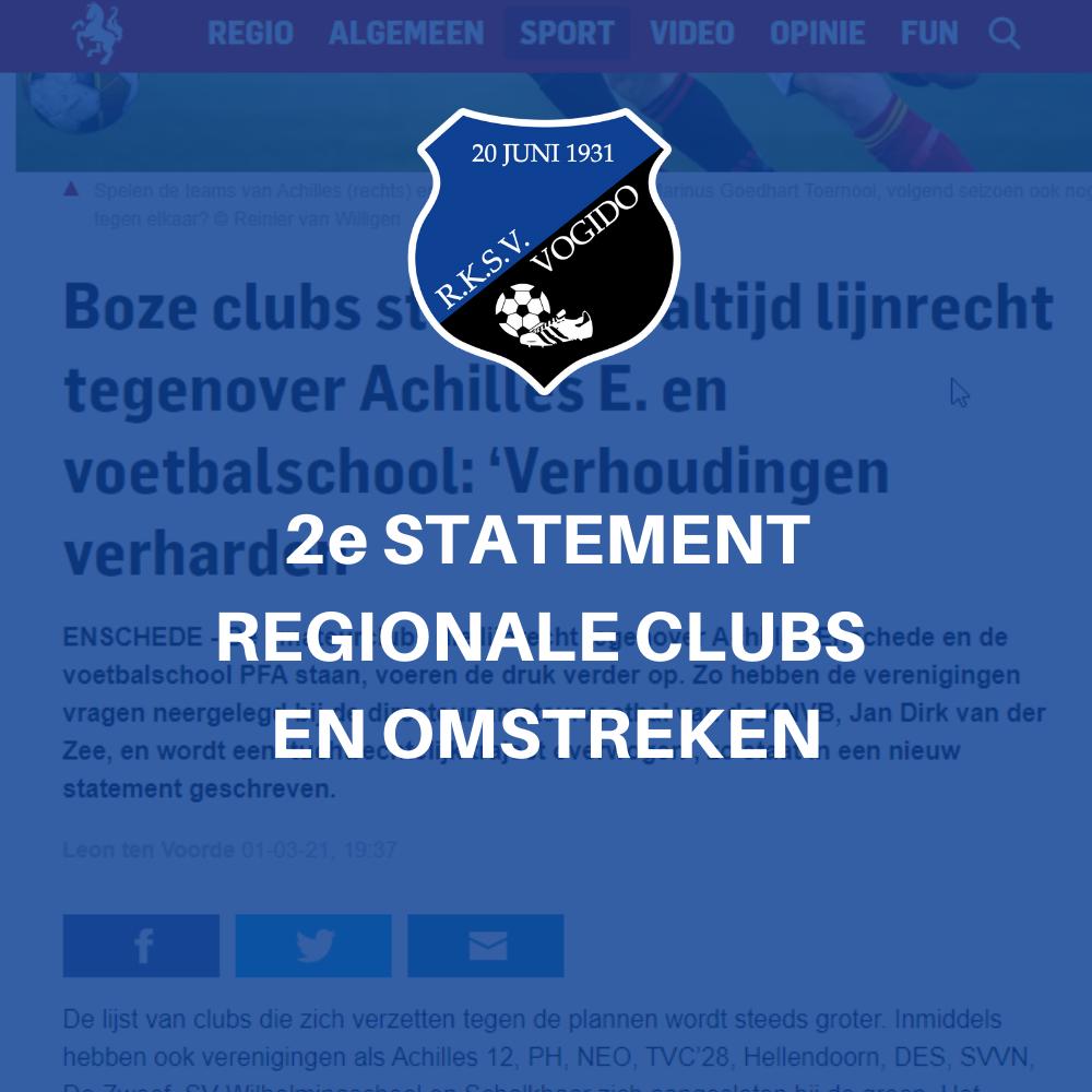 PFA dossier: Gezamenlijk statement (2e) voetbalverenigingen regio Twente en omstreken