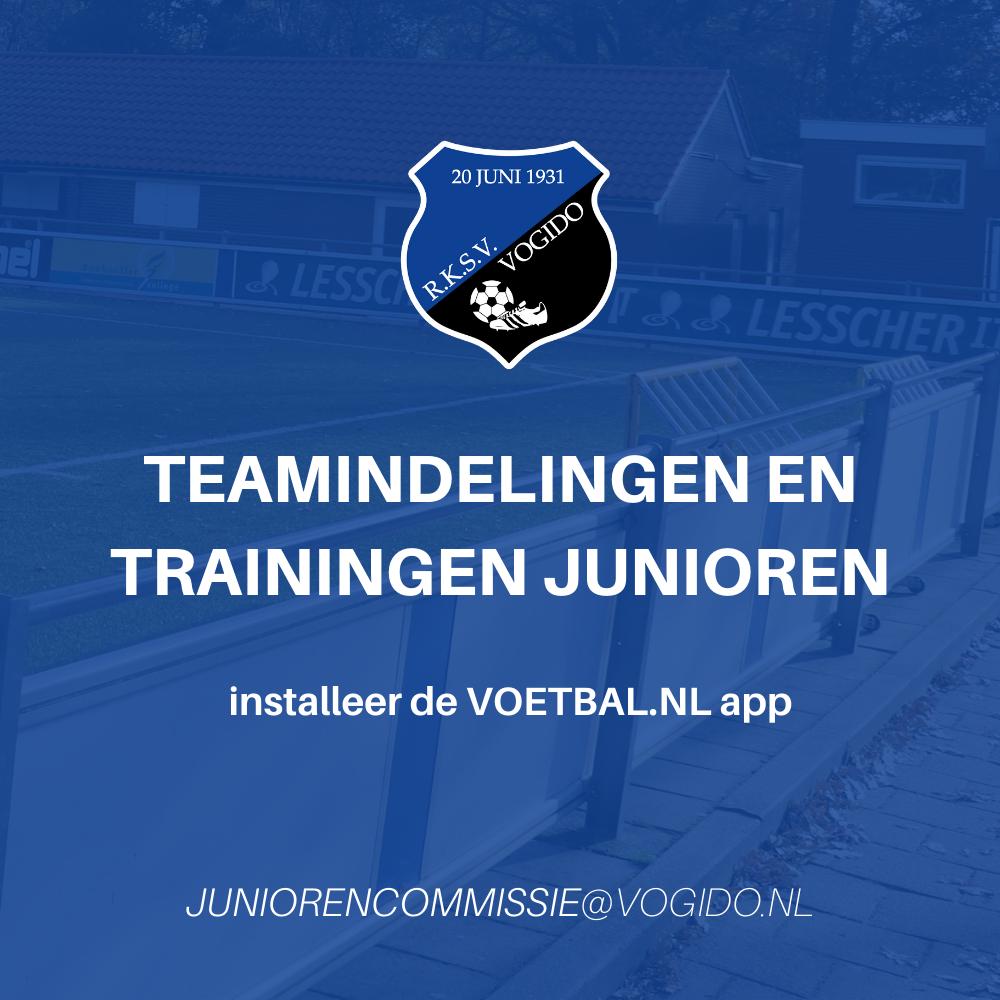 Teamindeling en Trainingstijden junioren teams