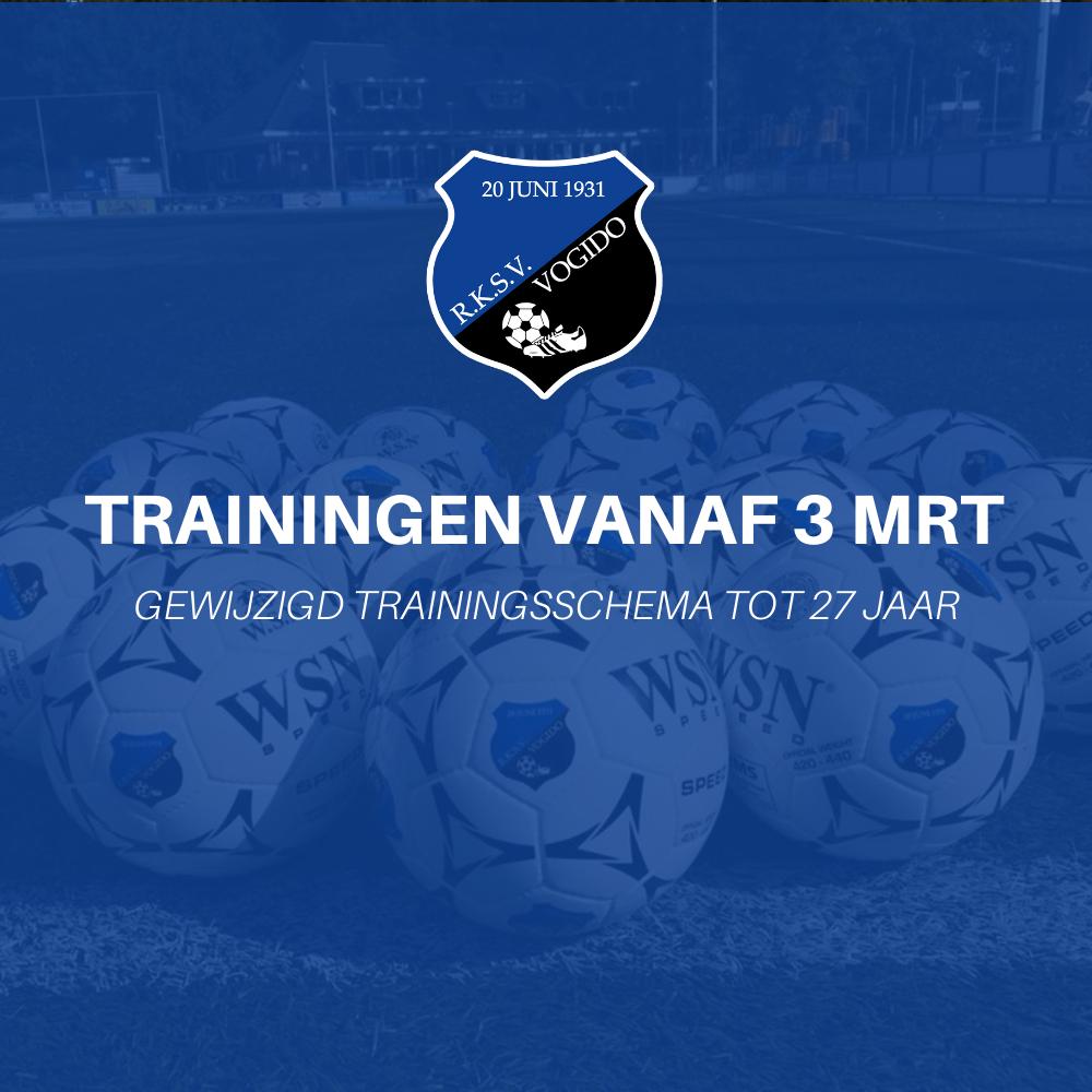 Trainingsschema spelers tot 27 jaar (vanaf 3 maart)