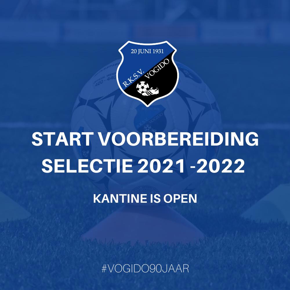 Selectie - start voorbereiding dinsdag 27 juli