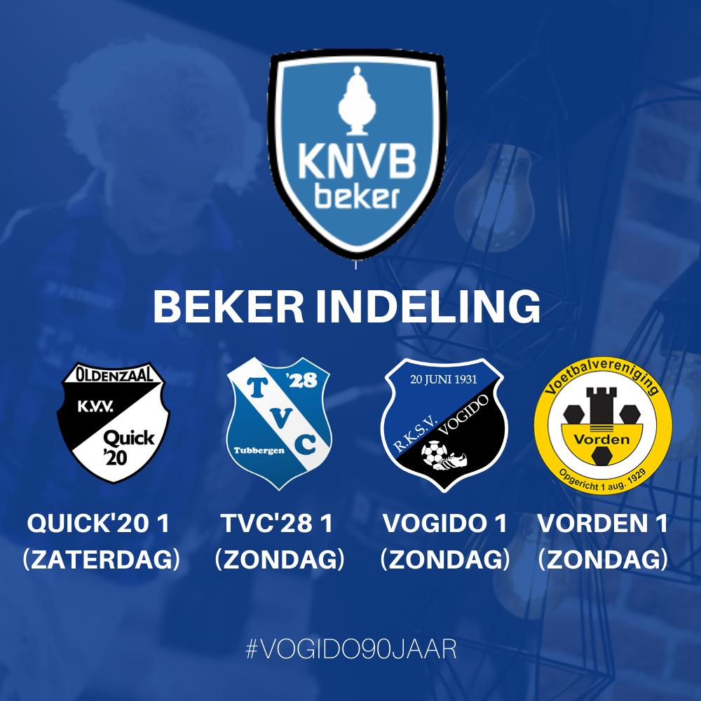 KNVB Bekerindeling selectie VOGIDO 1 en 2
