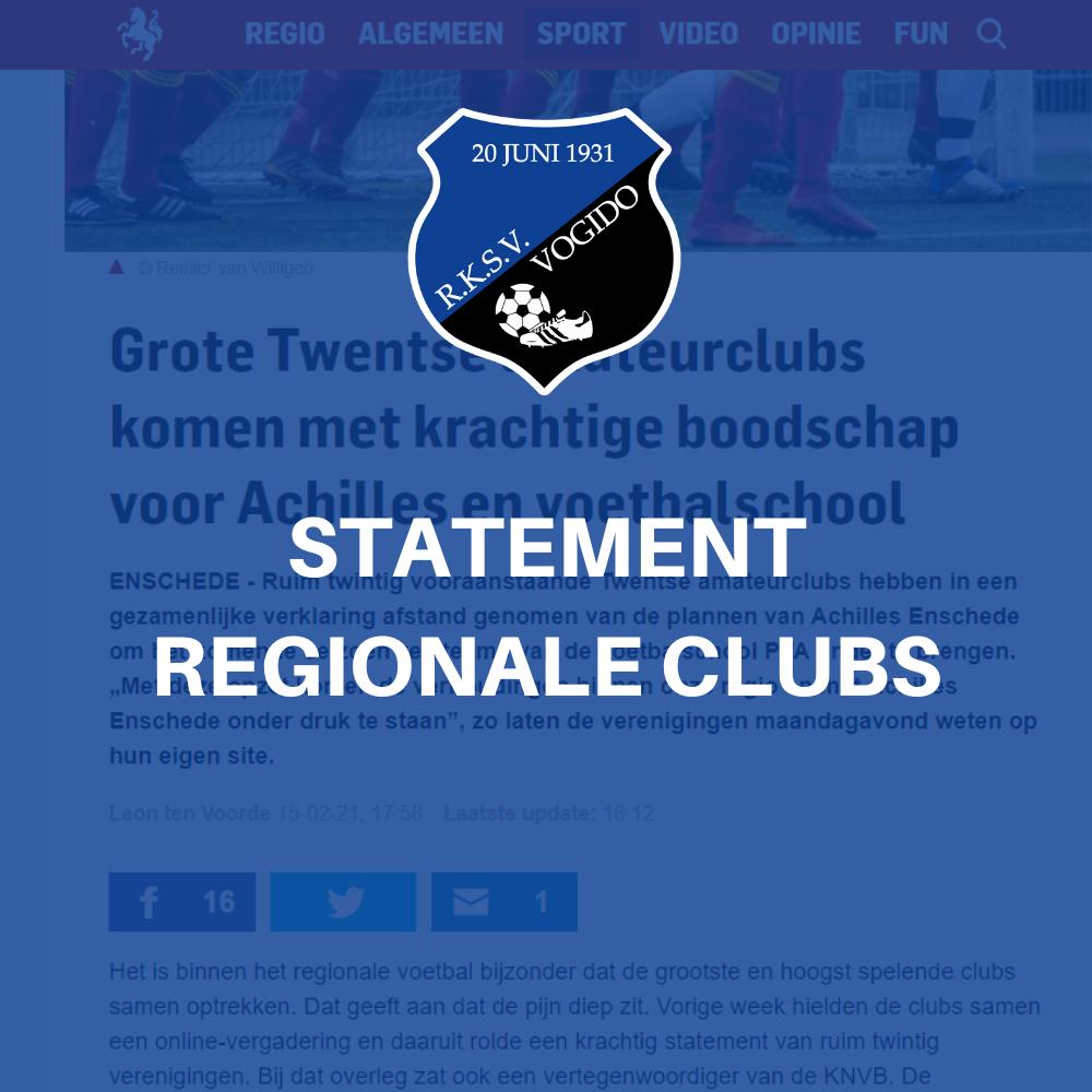 Statement regionale voetbalclubs