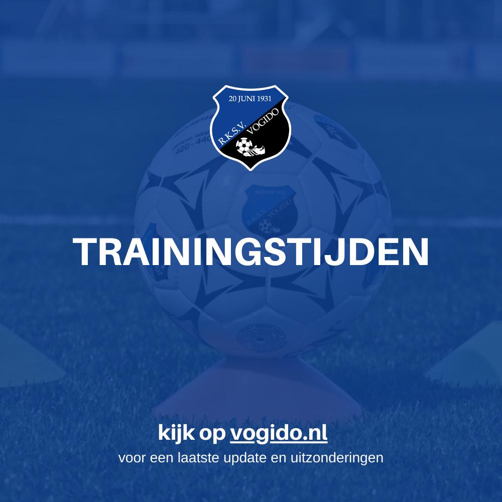 Trainingstijden vanaf 2 november